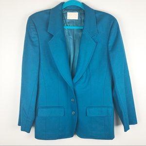 Vintage Pendleton Teal Wool Button Blazer
